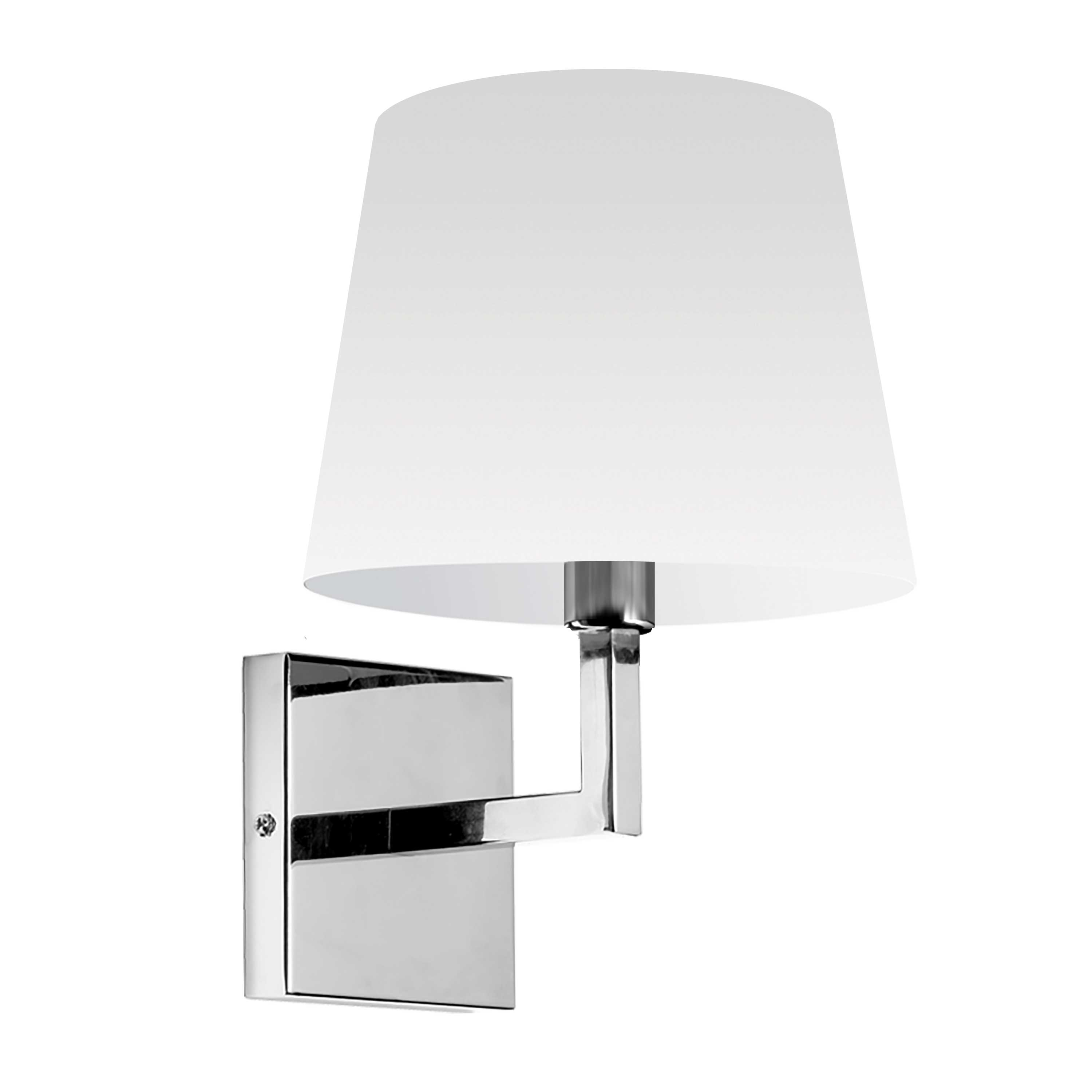 1LT Incandescent Wall Sconce,  PC w/ White Shade