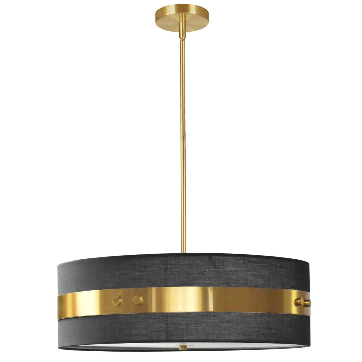 4 Light Incandescent Pendant Aged Brass Finish with Black Shade