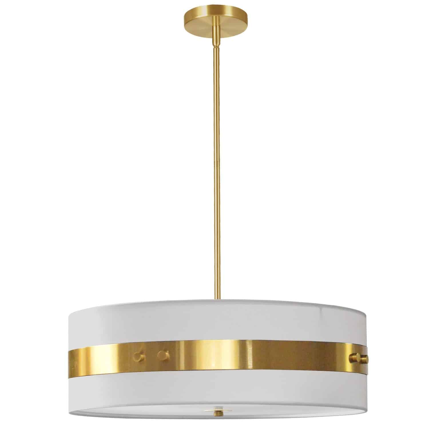 4 Light Incandescent Pendant Aged Brass Finish with White Shade