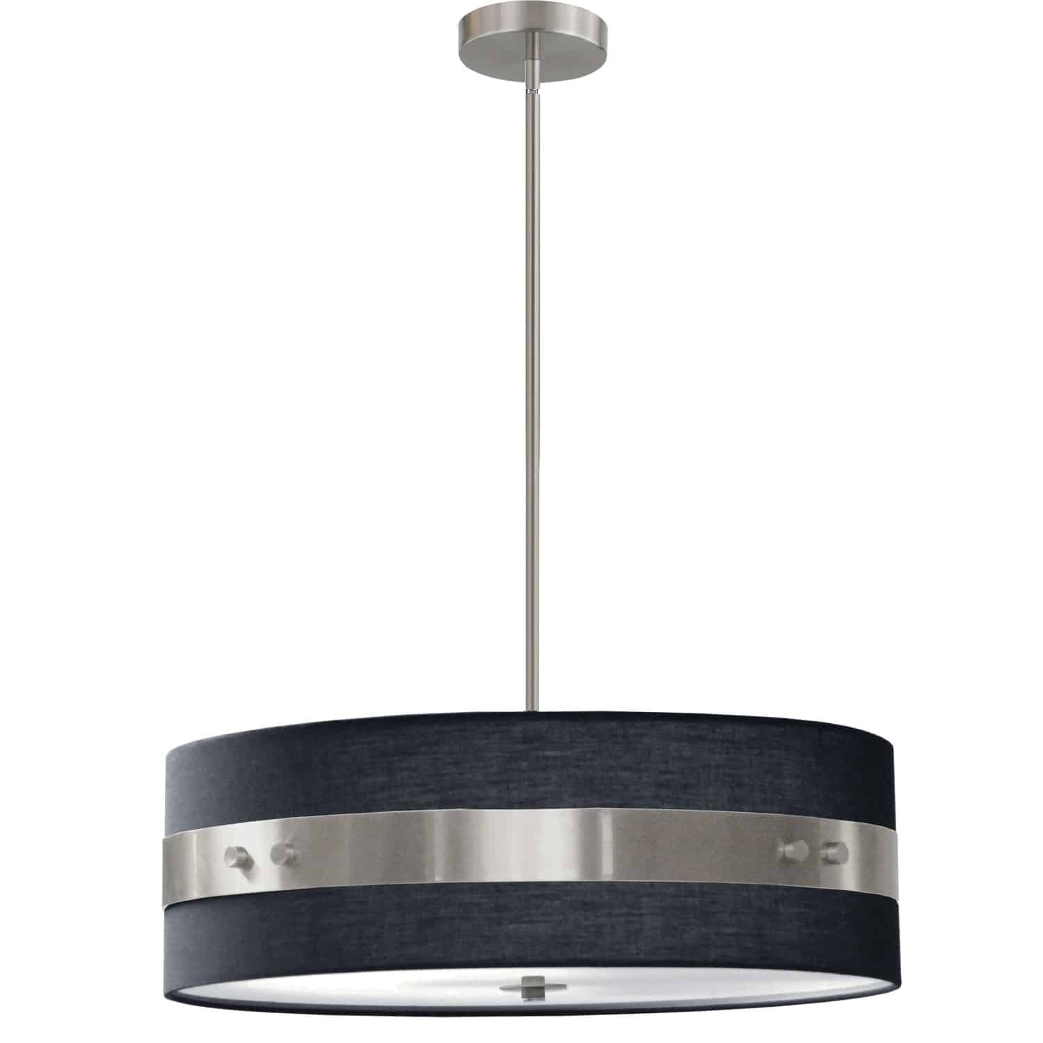 4 Light Incandescent Pendant Satin Chrome Finish with Black Shade