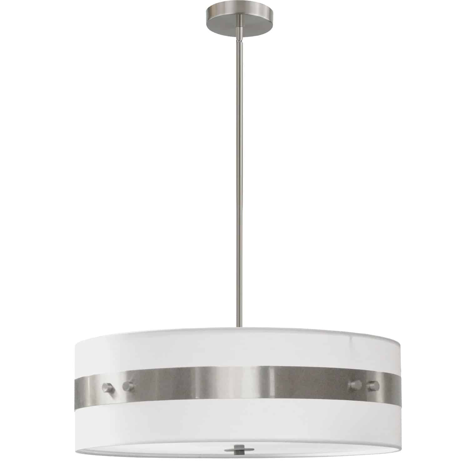 4 Light Incandescent Pendant Satin Chrome Finish with White Shade