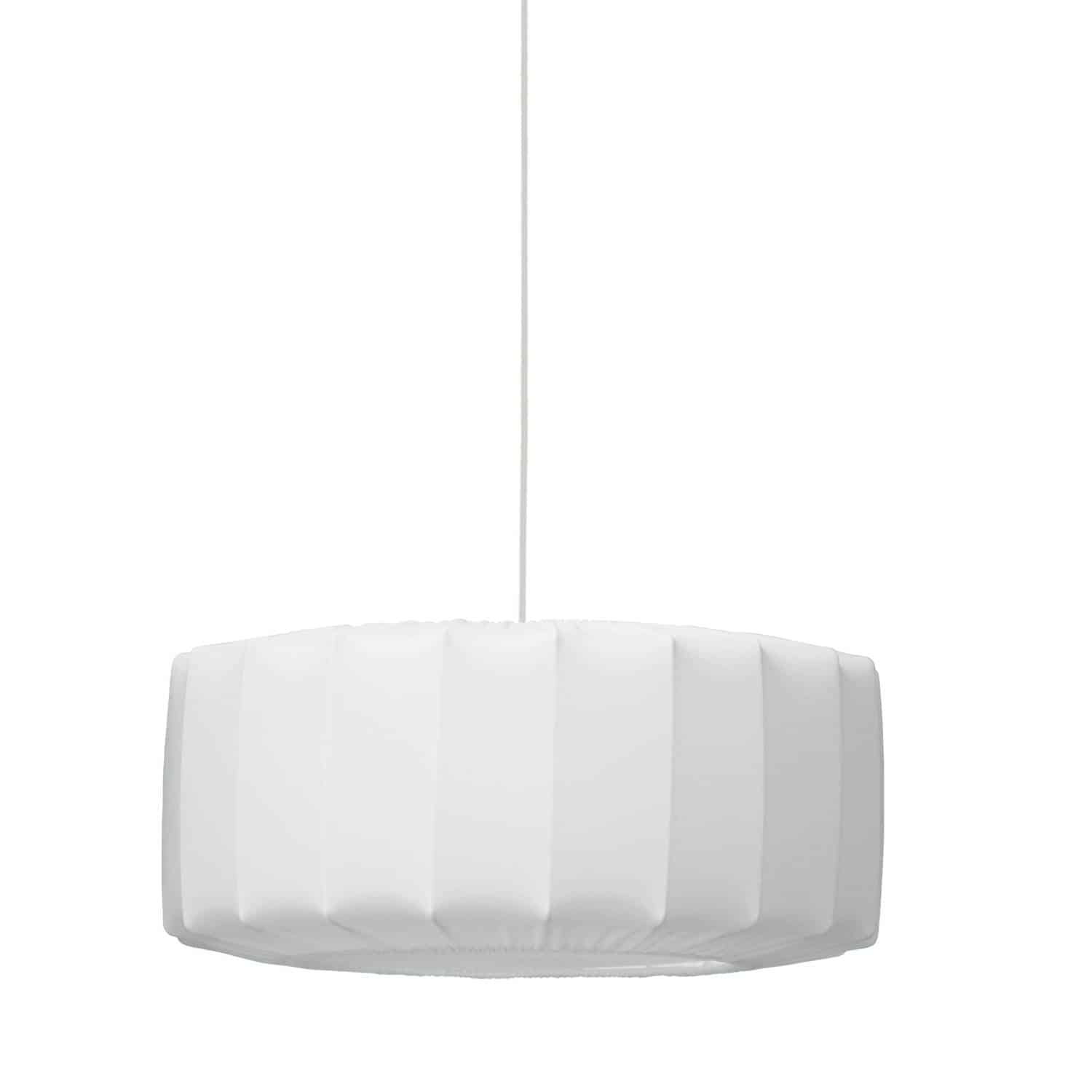 1 Light Zoey Pendant Lycra White Shade, Fabric Diffuser  White