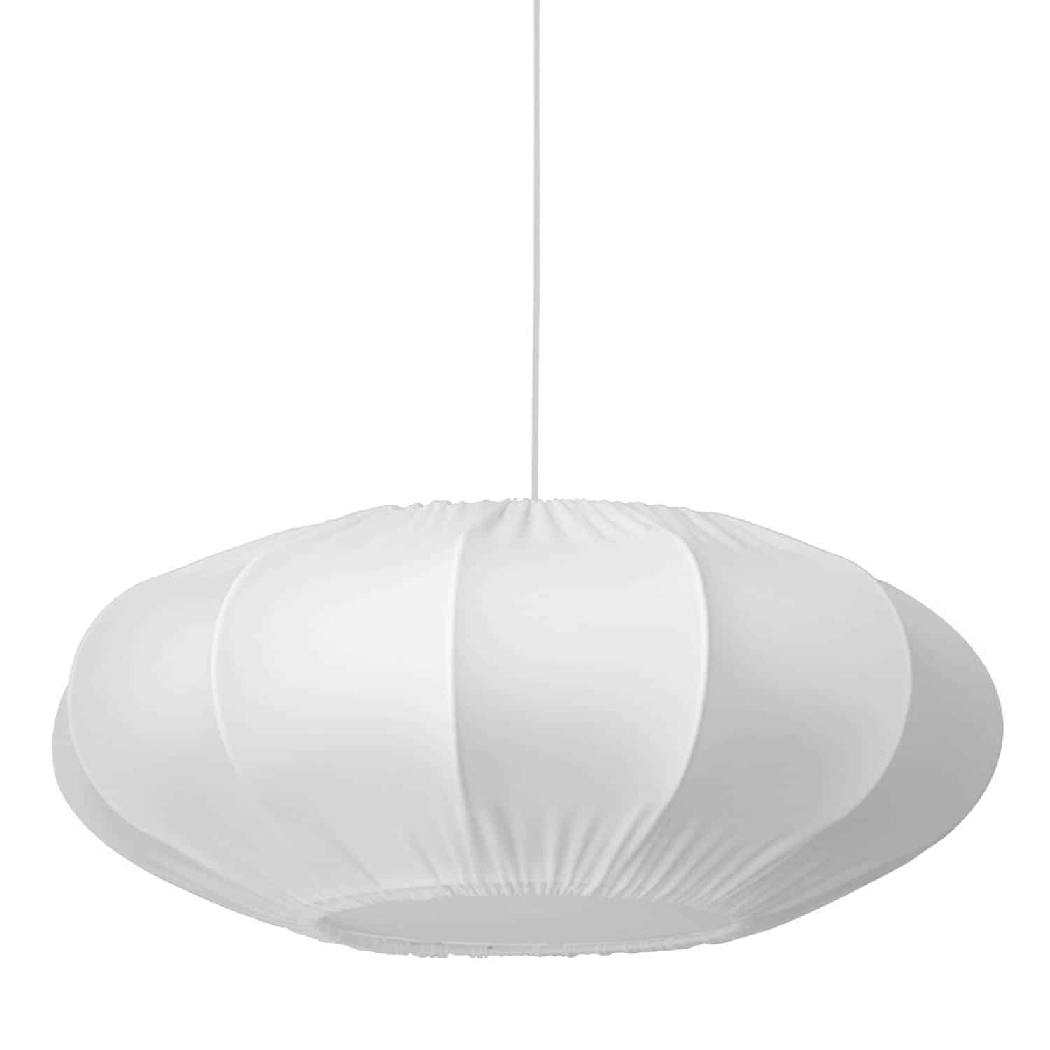 1 Light Zoey Pendant Lycra White Shade, Fabric Diffuser, White