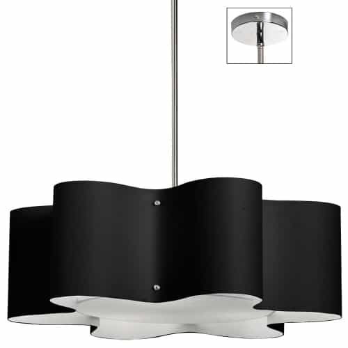 You'll add a bold and dramatic note to any room with the eye catching Zulu family of lighting. The design features a unique shade with six rounded edges over a circular fixture for a singular look.  The Zulu lighting design has elements of Pop Art appeal and will add a distinctive finish to any contemporary room from the kitchen to the bedroom and back to the living and dining rooms. Custom colour options include black and red shades in addition to neutral white for pendant lighting that adds much more than light to your home.