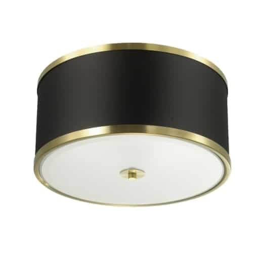 3 Light Incandescent Flush Mount, Aged Brass Finish with Black Shade