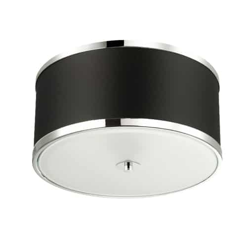 3 Light Incandescent Flush Mount, Polished Chrome Finish with Black Shade